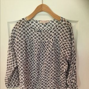 Loft Navy and white cotton sheer blouse